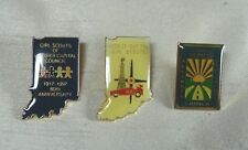 3 Girl Scouts Pins - Hoosier Indiana 1994, 1997 & Illinois Crossroads Council