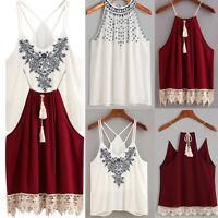 NEW Women Summer Vest Top Sleeveless Shirt Blouse Casual Loose Tank Tops T-Shirt