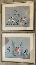 Pair Mid Century African Belgian Congo Tribal Abstract / Expressionism Paintings