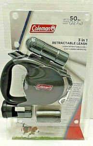 Coleman 3 in 1 Retractable Dog Pet Leash W/Flashlight Waste Bag Storage 50lbs