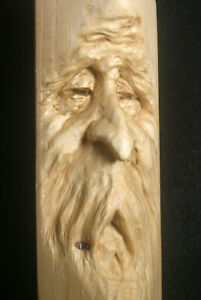 Hand Carved Wood Spirit Old Wizard Gothic Sculpture Carving Pen Pencil Holder