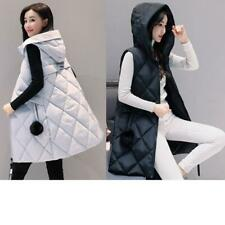 Winter Women Down Vest Jacket Padded Coat Slim Long Hooded Parka Outwear MOON