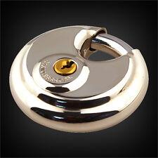 1PC 70mm Heavy Duty Stainless Steel Armor Brass Cylinder Disc Padlock Round Lock
