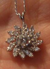 14kt White Gold Pendant W/Chain Beautiful! Center diamond w 24 smaller diamonds!