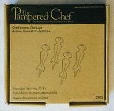 NEW 'The Pampered Chef' 4 Stainless Serving Picks