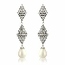 CHANDELIER DROP REAL PEARL LONG EARRINGS STUDDED WITH DIAMANTE STUNNING UK ITEM