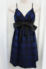 Studio M Dress Sz XS Blue Black Spaghetti Strap Front Bow Cocktail Dinner Party