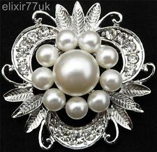 SILVER  FAUX PEARL  CRYSTAL FLOWER LEAF BOUQUET BROOCH WEDDING BRIDAL DECORATION