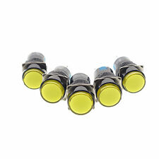 5 X Pulsador Switch 12v Luz Piloto Lámpara 1Ningún 1nc 16 Mm Orificio Traba Con Amarillo