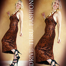 Vtg 90 METALLIC Brocade Animal Stripes Evening Cocktail Wedding MAXI Dress Gown