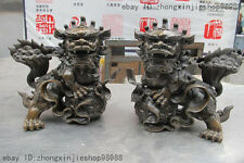 Chinese Pure Bronze Lucky Dragon Feng Shui Fu Foo Dogs Lion Play Ball Pair