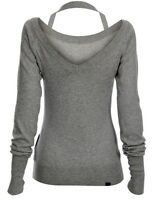 New BENCH LADIES WOMENS SPRING V BACK JUMPER TOP Mid Grey SIZE XL EU 42