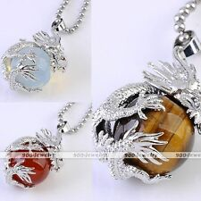 Natural Agate Gemstone Dragon Silvery Wrap Round Ball Pendant Bead Fit Necklace