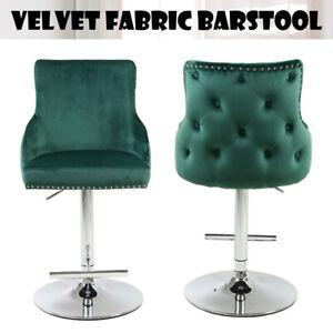 Bar Stool   Swivel Velvet With Chrome Base   Tufted Back   NO CUSTOMS CHARGES