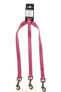 """Zack & Zoey Dog Coupler 3 Way in Raspberry 12"""" x 5/8"""" Attaches to Leash"""