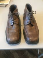 Kenneth Cole Reaction Flex Men's Brown Leather Square Toe Lace Up Boots 9.5 Nice