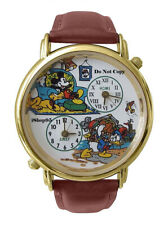 NEW Disney Mickey Mouse Donald Duck Pluto Dual 2 Time Zone Watch HTF