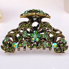Metal Hair Claw Clip Clamp Green Diamante Rhinestone  Antique-Gold Hair Clamp