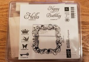 Stampin Up ELEMENTARY ELEGANCE Crown Frame Hello Key Retired  NEW