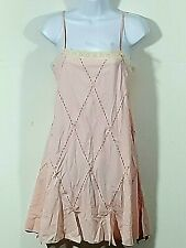 Victoria Secret Angels Pink Ivory Lace Short Nightie Gown LG Adjustable Straps