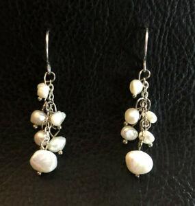 "Sterling Silver Earrings Freshwater Pearl White Tassel Beads 1.5"" 2.8g 925 #1705"