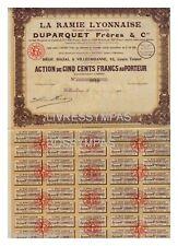 ACTION  500 FR LA RAMIE LYONNAISE DUPARQUET FRERES  1926
