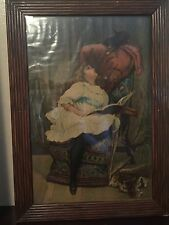 Early Picture In Wooden Frame of Child in Chair W/ Book  Looking Up at Black Cat