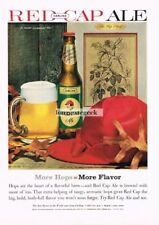 1960 Carling Red Cap Ale Beer Still Life With Autumn Leaves Vtg Print Ad