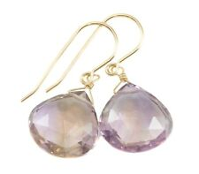 Ametrine Earrings Faceted Drops Lavender Purple Simple Natural 14k Gold Sterling