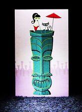 """SHAG Rare 2003 """"TALL TIKI DRINK"""" Mini Greeting Note Card Josh Agle Tiki Art -NEW"""