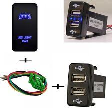 12V Push Switch Dual USB 2 Port Charger Blue LED Light Bar For Toyota 4Runner