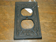Rustic Cast Iron French Fleur De Lis Double Electric Outlet Plate Cover