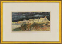 Allen Davies - Signed & Framed 2002 Watercolour, Stormy Cliffside View