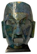 Ceramic Stone Tile Decorative Mask on Stand Aztec Unique Blue Green