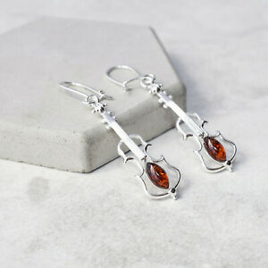 Violin Amber Drop Earrings Baltic Amber Dangle Earrings Silver Music Lover Gift
