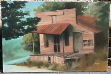 Vintage Country Home House Shack Painting Art Retro Modern Signed Wall Hanging