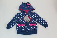 Hello Kitty Coat with Hood Zip Up Toddler Size 12M Blue White Polkadots (N)