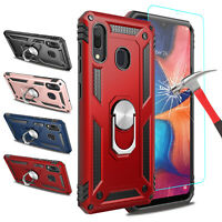 For Samsung Galaxy A20 Rugged Case With Ring Holder Stand Cover+Screen Protector