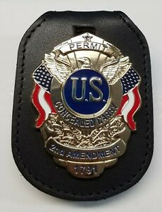 Leather R-Belt Clip w/Gold Concealed Carry Badge Permit 2nd Amendment 1791 Pin