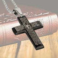Stainless Steel Black Cross Pendant Necklace for Men Lord's Prayer Necklace USA