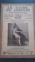 REVUE LE GUIDE DU CONCERT ET DES THEATRES LYRIQUES 1929 N°10 J.ROUSSEL