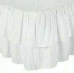 SIMPLY SHABBY CHIC WHITE DOUBLE RUFFLE BEDSKIRT ~ TWIN ~ 2 TIER