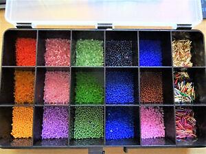 Bastelperlen Glasperlen verschiedene in Box