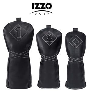 Izzo Golf Premium PU Leather headcover Driver Fairway or Hybrid Head Cover Black