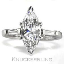 Diamond Marquise Shape Ring 1.76ct Certified D VS2 VG and 18ct White Gold