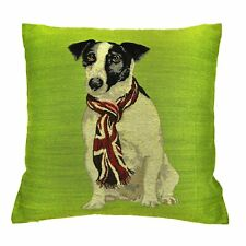 🐾Jack Russell Cushion with cushion pad Union Jack Scarf on dog  Green front🐶
