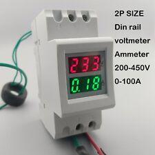 2P 36mm Din rail Dual LED display Voltage and current meter range200-450V 0-100A