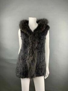 New Woman Vest With Hood Real Fur Rabbits Charcoal/Raccoon Trim SZ Medium Luxe