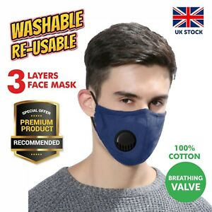Face Masks with Nose Wire Glasses Wearers 4 Layers Cotton Washable Filter Pocket