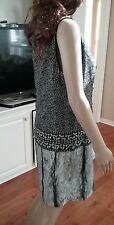 NWT Michael Kors Black Fishbone Printed Short Sleeve  Dress Size  M MSRP $140